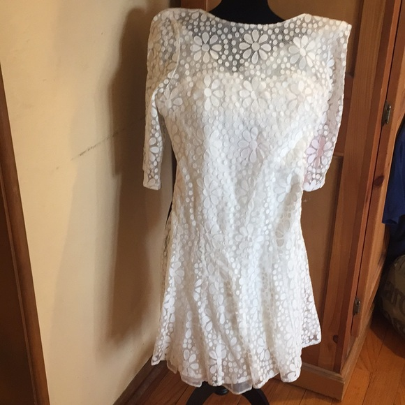 Betsy Johnson Nwt Sz 10 White Daisy Lace Dress Nwt